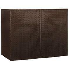 Osłona na 2 kosze na śmieci, brązowa, 153x78x120 cm, rattan PE