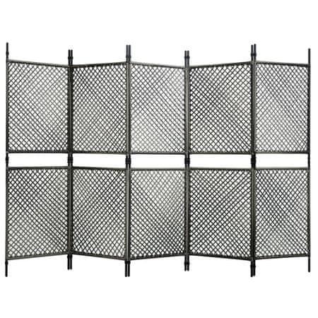 shumee 5 paneles antracitszürke polyrattan paraván 300 x 200 cm