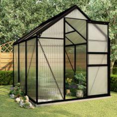 shumee Hliníkový skleník s podkladovým rámom, antracitový 3,61 m²