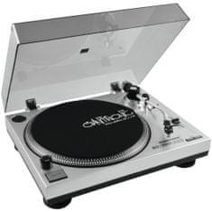 Omnitronic BD-1380, gramofon s řemínkovým pohonem-USB stříbrný