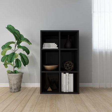 shumee magasfényű fekete forgácslap könyv-/tálalószekrény 66x30x97,8cm