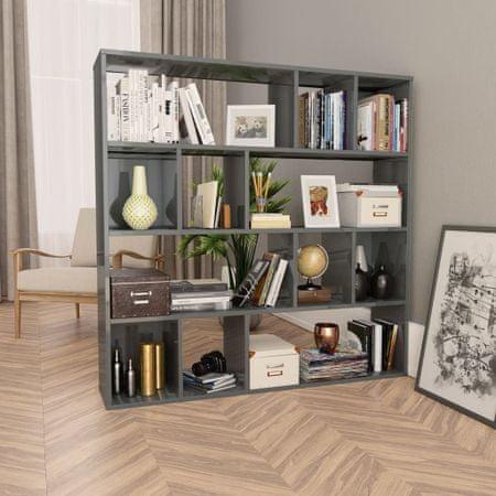 Przegroda/regał na książki, wysoki połysk, szary, 110x24x110 cm