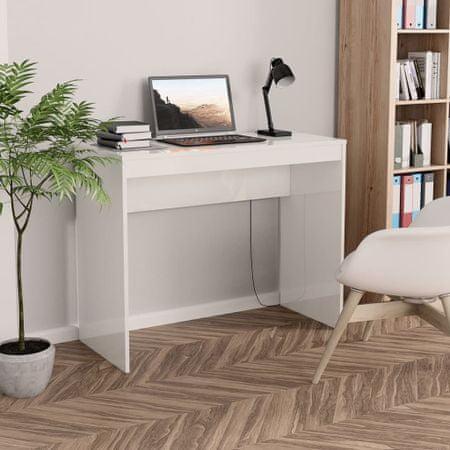 shumee magasfényű fehér forgácslap íróasztal 90 x 40 x 72 cm