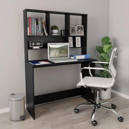 shumee fekete forgácslap íróasztal polcokkal 110 x 45 x 157 cm