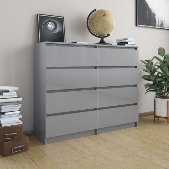 Příborník se zásuvkami šedý vysoký lesk 120x35x99cm dřevotříska