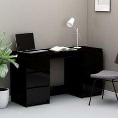 shumee Psací stůl černý s vysokým leskem 140 x 50 x 77 cm dřevotříska