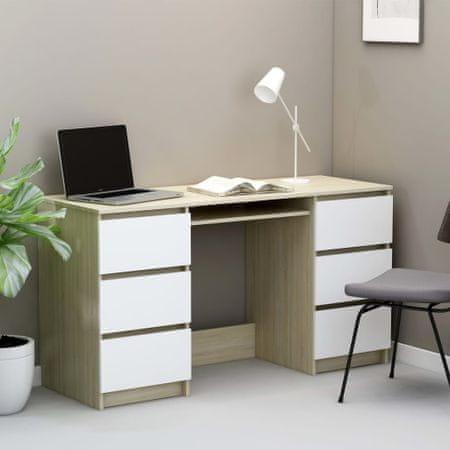 shumee fehér és sonoma-tölgy forgácslap íróasztal 140 x 50 x 77 cm