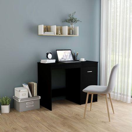 shumee fekete forgácslap íróasztal 100 x 50 x 76 cm