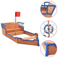 shumee Pískoviště pirátská loď jedlové dřevo 190 x 94,5 x 136 cm