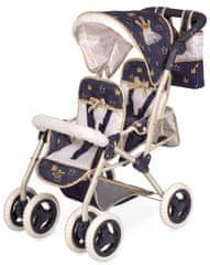 DeCuevas 90332 Składany wózek dla dwóch lalek 3 w 1 z torbą Classic Gold