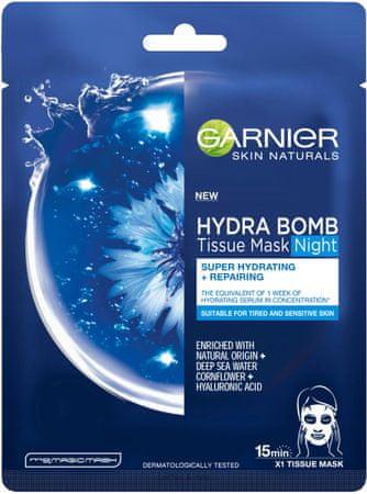 Garnier Skin Naturals Hydra Bomb Tissue nočna maska za obraz, 32 g