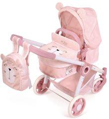 DeCuevas 80539 Skladací kočík pre bábiky 3 v 1 s batôžkom Little Pet