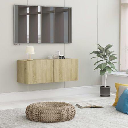 shumee sonomatölgy színű forgácslap TV-szekrény 80 x 30 x 30 cm