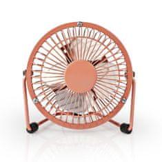 Nedis Mini ventilátor, průměr 10 cm, výkon 3 W, napájení přes USB, kabel 1 m, starorůžová FNDK1PK10