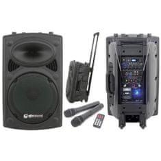 "QTX QR-15PA, mobilní 15"" zvukový systém MP3/SD/USB/2x VHF, 250W"