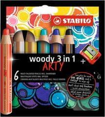 """Stabilo Barevné pastelky """"Woody ARTY 3 v 1"""", 6 různých barev, kulatá, silná"""