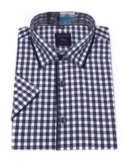 Laviino ItalyStyle Kostkovaná košile s krátkým rukávem TSK64-3 slim fit Velikost: EU 39/40