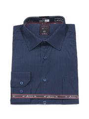 Laviino ItalyStyle Tmavě modrá košile s proužkem a dlouhým rukávem NDT9-2 Velikost: EU 38/39