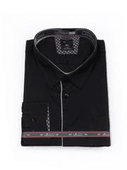 Laviino ItalyStyle Společenská černá pánská košile 3XL-9XL s dlouhým rukávem TS200-14 Velikost: EU 47/48