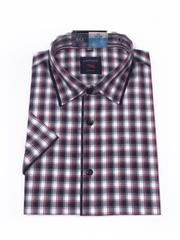 Laviino ItalyStyle Kostkovaná košile s krátkým rukávem TSK64-1 slim fit Velikost: EU 38/39