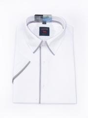 Laviino ItalyStyle Bílá pánská košile s krátkým rukávem TSMK-13F slim fit Velikost: EU 38/39