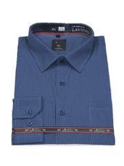 Laviino ItalyStyle Modrá košile s proužkem a dlouhým rukávem NDT9-3 Velikost: EU 39/40
