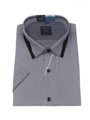 Laviino ItalyStyle Černošedá košile s proužkem a krátkým rukávem TSK76-1 slim fit Velikost: EU 38/39