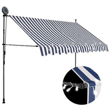 slomart Ročno zložljiva tenda z LED lučmi 300 cm modra in bela