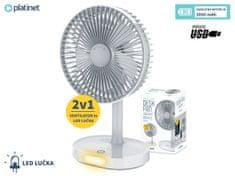Platinet PRDF0326 stolni ventilator, s punjivom baterijom i LED svjetlom, bijeli