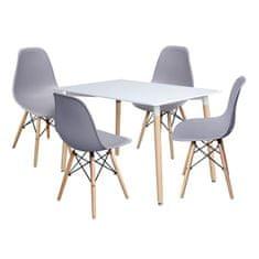 IDEA nábytok Jedálenský stôl 120x80 UNO biely + 4 stoličky UNO sivé