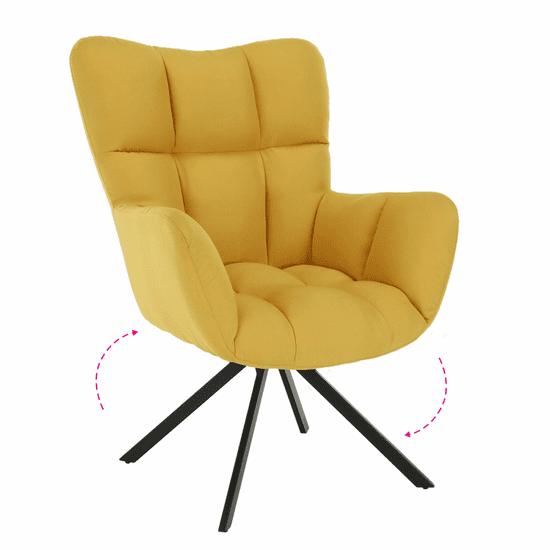 TEMPO KONDELA Dizajnové otočné kreslo, žltá/čierna, KOMODO