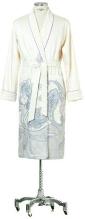 Möve Cienki bawełniany szlafrok PIMA ze wzorem paisley i podszewką frotte, beżowy, XL +