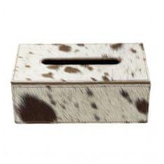 Mars & More Skórzane pudełko na chusteczki, brązowo-białe światło