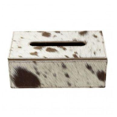 Mars & More Usnjena škatla za robčke, rjavo-bela svetloba