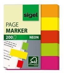 Sigel Samolepicí záložky, 5x40 lístků, 12x50 mm, neonové barvy