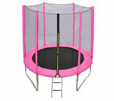 DUVLAN Trampolína FunJump Pink 183 cm + ochranná síť + schůdky