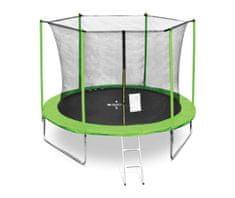 Legoni Fun trampolin, z zaščitno mrežo in lestvijo, 305 cm, zelen