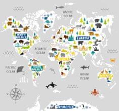 Graham & Brown Dětská vliesová obrazová tapeta Mapa Světa, 111398, World Map 300 x 280 cm, Kids@Home 6, Graham & Brown