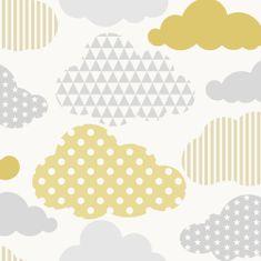 Graham & Brown Dětská vliesová tapeta Mráčky, 108267, Clouds Yellow Grey, Kids@Home 6, Graham & Brown