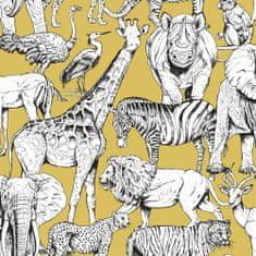 Graham & Brown Dětská vliesová tapeta Džungle, 107691, Jungle Animals Jaune, Kids@Home 6, Graham & Brown
