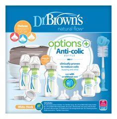 Dr.Brown´s Set 5 láhví Options+ široké hrdlo novorozenecká Deluxe