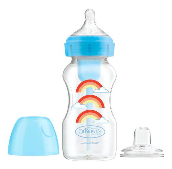 Dr.Brown´s Fľaša antikolik Options + široké hrdlo 2v1 s hubicou 270ml plast modrá