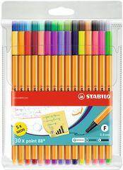 """Stabilo Linery """"Point 88"""", sada, 25 + 5 různých barev, 0,4 mm"""