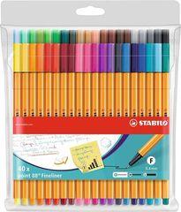 """Stabilo Linery """"Point 88"""", sada, 40 různých barev, 0,4 mm"""