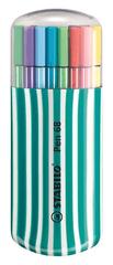 """Stabilo Fixy """"Pen 68 Zebrui"""", 20 různých barev, sada, 1 mm, tyrkysové pouzdro"""
