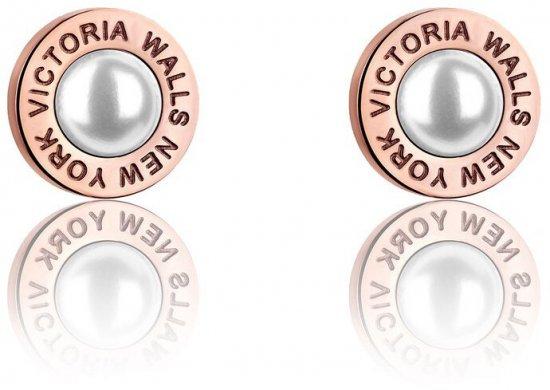 VictoriaWallsNY Ružovo pozlátené náušnice kôstky s perličkami VE1093R