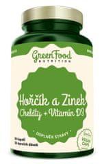 GreenFood Hořčík a Zinek Cheláty + Vitamín D3 90kapslí