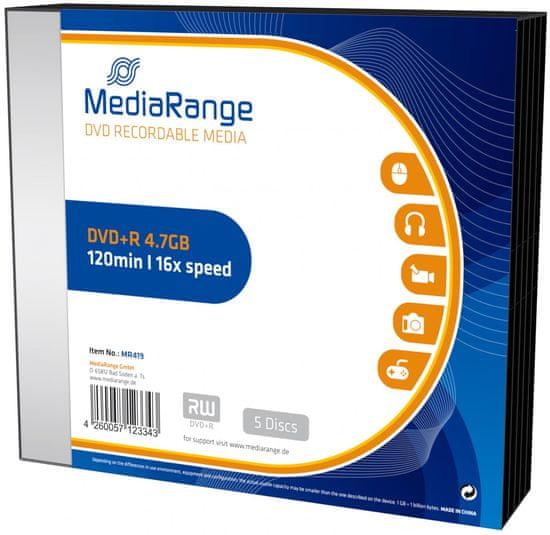 MediaRange DVD+R 4,7GB 16x slimcase 5ks (MR419)