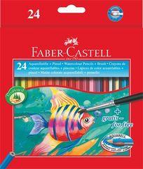 Faber-Castell Akvarelové pastelky, se štětcem, 24 barev, šestihranné