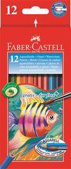 Faber-Castell Akvarelové pastelky, se štětcem, 12 barev, šestihranné